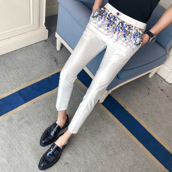 New Floral Print Pant Dress Slim Fit Business Nightclub Male Singer Trousers Casual Moda Masculina Erkek Pantolon 2019 Spring