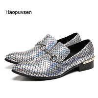 New  Genuine Leather Men's Flats Men  shinny glitter shoes men smoking slippers Prom and party male loafers Size 4-12