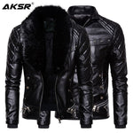 Men's Leather Jacket Furry Detachable Collar Winter Warm Jacket Coats