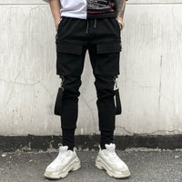 New Side Pockets Pencil Pants Men's Hip Hop Patchwork Cargo Ripped Sweatpants Joggers Trousers Male Fashion Full Length Pants