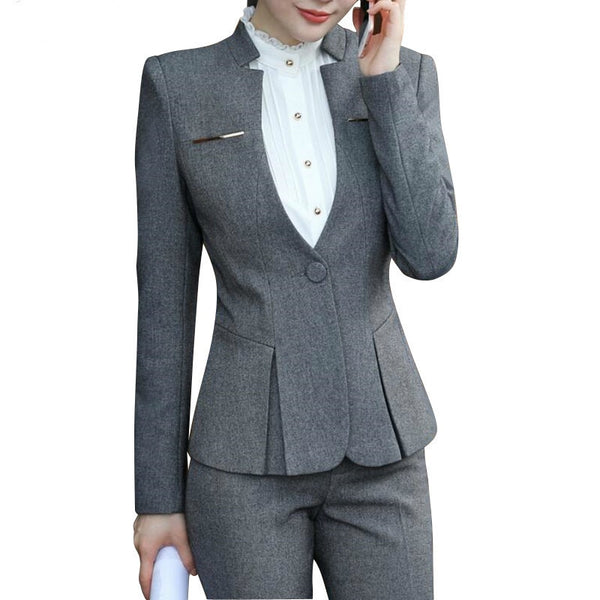 New Slim Suits, Women's, Wear Long Sleeved Work Office Blazer Suits For All Women Pants Costume Femme Traje Mujer