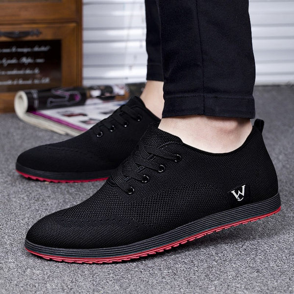 New Spring/Summer Men Shoes Breathable Mesh Casual Shoes Men Canvas Shoes Zapatillas Hombre 2019 Fashion Low Lace-Up Flat Shoes
