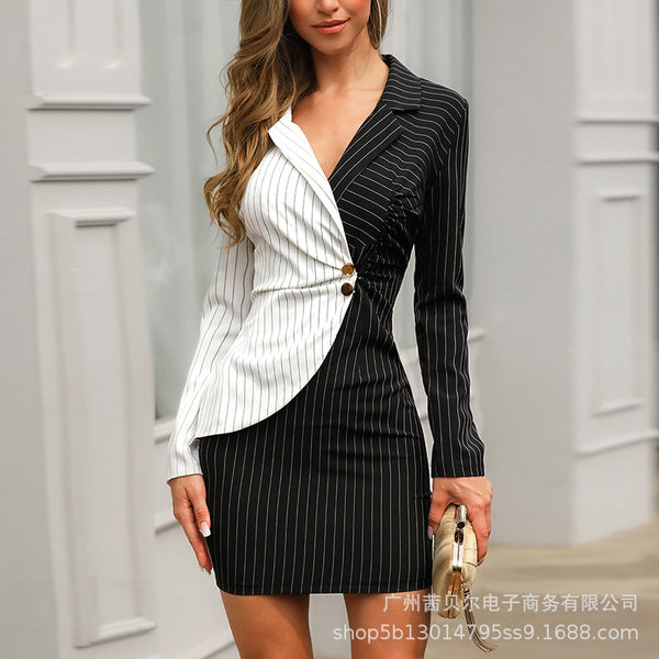 New Women Elegant Long Sleeve Black and white Patchwork Casual Office Dress Summer and Winter