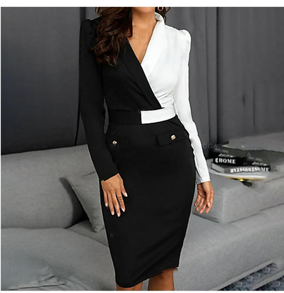 New Women Elegant Long Sleeve Black and white Patchwork Office Dress Summer and Winter