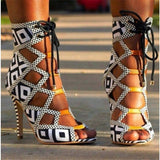 New Women Mixed Colors Gladiator Strip Sandals Summer Cutouts Sandalias Design Sexy Party Dress Thin High Heels Shoes Women 2018