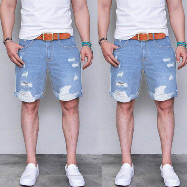 New style hot sales 2019 ISHOWTIENDA Men's Summer Fashion Causal Slim Fit Sport Shredded Denim Shorts Jeans  high quality