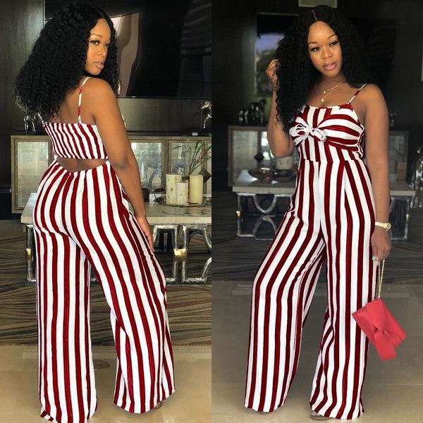 Newly Women Jumpsuit Lady Strap Stripe Romper womens Jumpsuit Bodysuit Bodycon Party streetwear Outfit Clothes