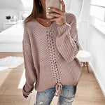 Oeak 2019 Autumn Women Lace Up Knitted Sweater Pullovers Women Casual V-neck Knitwear Jumper Warm Winter Femme Solid Sweater Top
