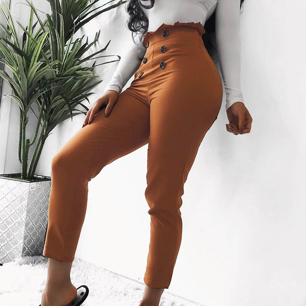 Office Front Buttons Skinny harem Pants Female Work Solid High Waist Slim Long Pencil Trousers Women Streetwear high waist pants