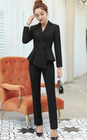 Office Lady Formal Work Wear Blazer Suit Set for Women Black Navy Blue Red 2 Pieces Set