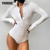 Sexy Turn-Down Collar Shirt Bodysuit for Women Black White Full Buttons Rompers