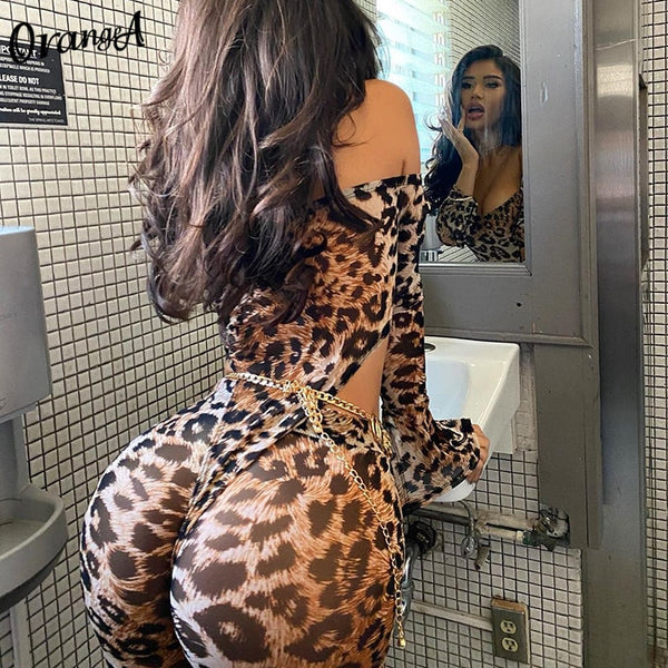 Women off shoulder leopard print matching set long sleeve bodysuit+leggings