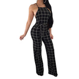 Overalls For Women Summer Elegant Long Plaid Rompers Womens Sleeveless Sexy Club Party Pant Elegant Backless One Piece Jumpsuit