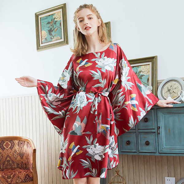 Oversize Women Faux Silk Nightwear Novelty Print Nightgown 6XL Loose Nightdress Sleepwear Bat Sleeve Nightwear Home Dress