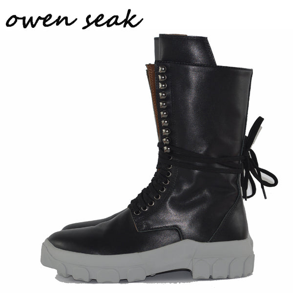 Owen Seak Men Casual Boots Knee High Riding Boots Retro Genuine Leather Lace Up Sneakers Luxury Trainers Boots Flat Black Shoes