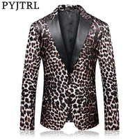 Men's Leopard Print Blazer Suit Spring Autumn Fashion