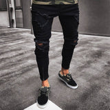 Pants Men Slim Biker Zipper Denim Jeans Skinny Frayed Pants Distressed Rip Trousers Pantalones Hombre Men Pants Trousers Men