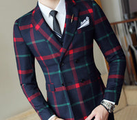 Plaid Wedding Suit 2019 Fashion Check Suit Men Vintage Prom Banquet Suit Men Slim Fit Double Breasted Suit Jacket Vest Pant