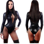 Sexy Women Leather Bodysuit Flexible Latex Catsuit Sexy Lingerie