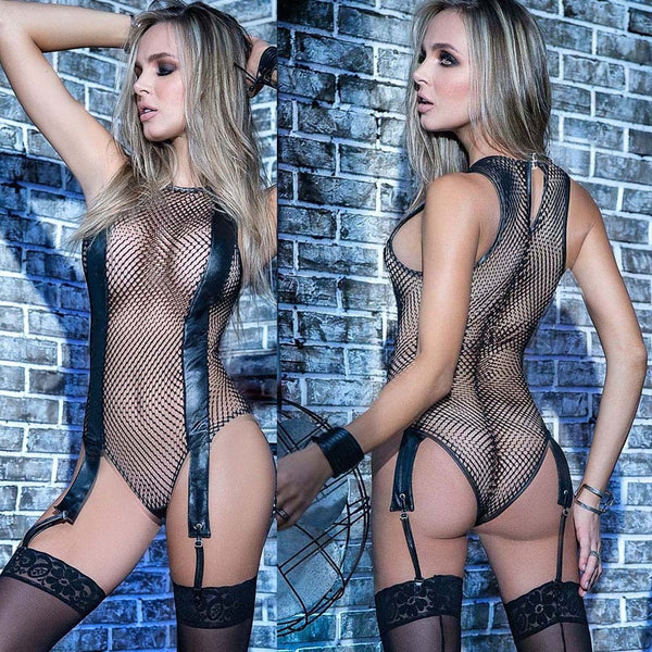 Sexy Fishnet Lingerie for Women Leather Bodysuit Sexy Underwear Garter Babydoll Catsuit Erotic Costume