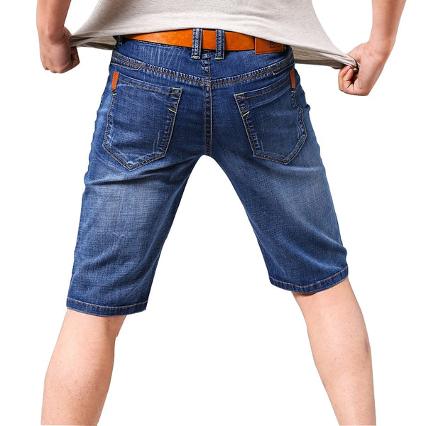 QUANBO Brand Clothes 2019 New Summer Men's Blue Denim Shorts Business Casual Elastic Jeans Short Slim Fit Straight Men Shorts