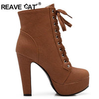 REAVE CAT Plus Size Ankle Boots For Women Platform High Heels Female Lace Up Shoes Woman Buckle Short Boot Botas Feminino PA218