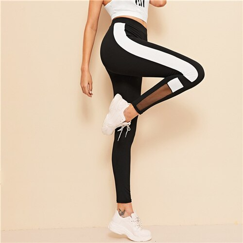 ROMWE Black Colorblock Contrast Panel Mesh Insert Sheer Leggings Women Summer Casual Stretchy Long Athleisure Bottoms