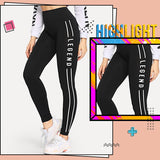 ROMWE Letter Print Side Skinny Leggings Chic Black Women Active Wear Leggings 2019 Fabulous Fitness Stretchy Leggings