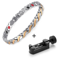 RainSo Female Charm bracelet Germanium Link Chain Health Magnetic Bracelet For Women Bio Energy Jewelry for Arthritis OSB-1551