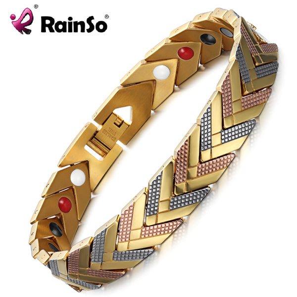 RainSo Magnetic Bracelets Bangle for Women 4 in 1 Health Care Bio Energy Germanium Healing Female Jewelry for Arthritis