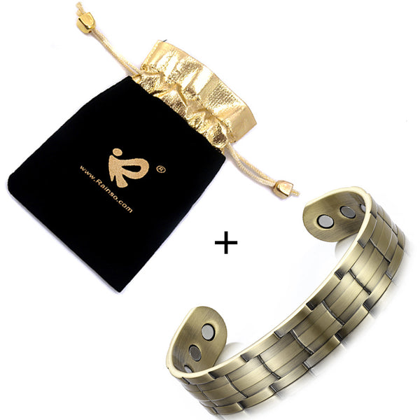 RainSo Popular Stainless Steel Health Magnetic Bracelets for Lady Magnetic Therapy Bracelets for Arthritis Wristband Adjustable