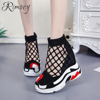 Rimocy women wedge shoes height increasing super high heels flats ladies platform casual shoes woman summer air mesh vulcanizes