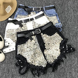 Rivet denim shorts 2019 summer spring women high waist loose tassel jeans shorts