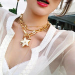 Rongho Vintage Metal Stars chokers necklaces for women punk jewelry Gold link  chain necklace stars pendant necklace bijoux