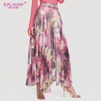 S.FLAVOR Women Floral Print High Waist Loose Long Skirt Women Summer Bohemia Weekend Casual Skirts Beach Weekend Skirt