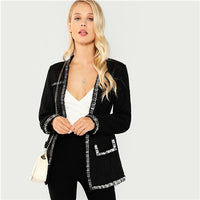 SHEIN Black Elegant Highstreet Open Front Frayed Edge Solid Fashion Jacket 2018 Autumn Office Lady Women Coat And Outerwear