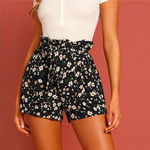SHEIN Boho Paperbag Tie Waist Flower Print Straight Leg Shorts Women Summer Zipper Fly High Waist Casual Vacation Bottoms