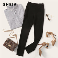 SHEIN Elastic Waist Black Striped Mid Waist Skinny Trousers Autumn Office Lady Elegant Slim Fit Vertical Women Pencil Pants