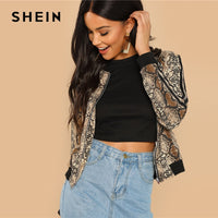 SHEIN Multicolor Highstreet Snakeskin Print Colorblock Striped Sleeve Jacket 2018 Autumn Modern Lady Casual Women Coat Outerwear