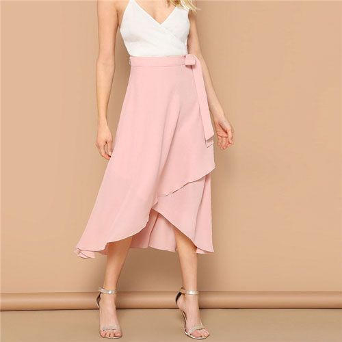 SHEIN Pink Lady Mid Waist Knot Asymmetrical Hem Solid Skirt Women Vacation Wrap Belted Casual Summer Beach Midi Skirt
