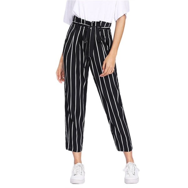 SHEIN Self Belt Striped Pants Women fashion Clothing High Waist Zipper Fly Trousers 2018 Spring New Casual Carrot Pants