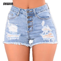 SHUJIN 2018 Shirt Jeans Fashion High Waist Denim Shorts Women Hole Ripped Summer Streetwear Female Casual Shorts Plus Size