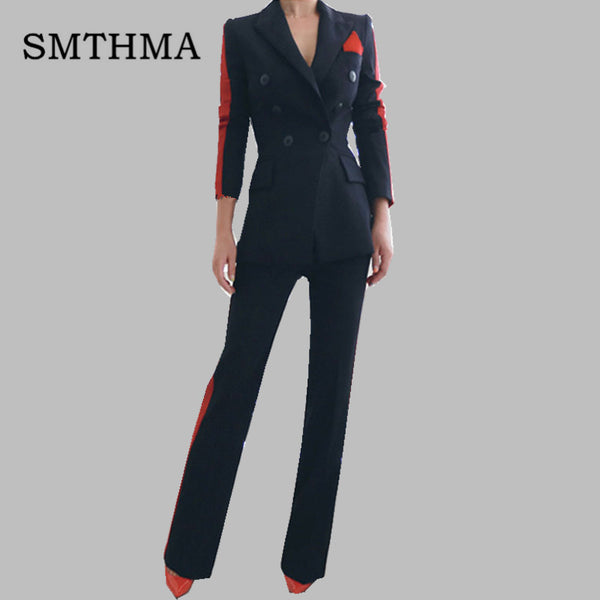 SMTHMA 2019 Spring New arrival women High Quality fashion Long blazer +2 pieces women pant suits