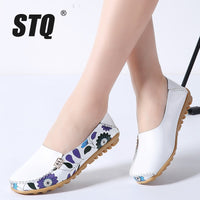 STQ 2019 Spring women flats genuine leather shoes slip on ballet flats ballerines flats woman shoes moccasins loafers shoes 170