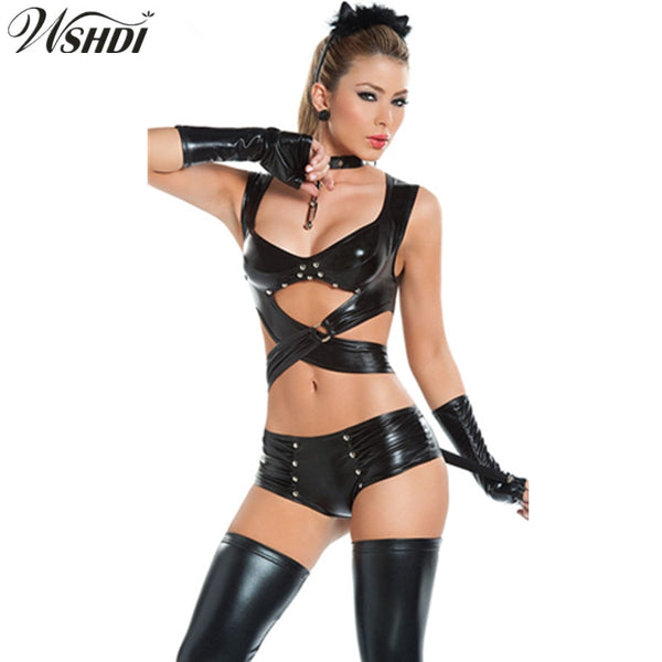 Sexy Bandage Catwomen Clubwear Jumpsuit Latex PVC Catsuit Costumes For Pole Dance Women Bodysuits Fetish Leather DS Game Clothes