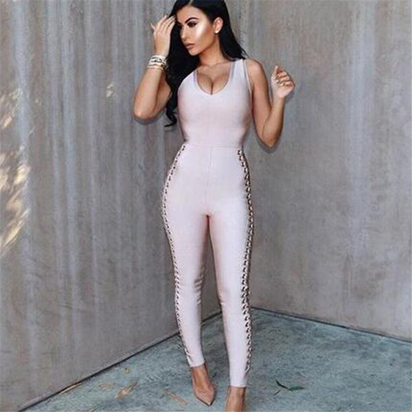 Sexy Bandage Jumpsuit For Women Summer Backless Sleeveless Rompers