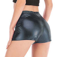 Sexy Bright Leather Shorts for Women Fashion Casual Mini Shorts with Solid Color