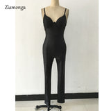 Sexy Deep V Neck Bodycon Jumpsuits Women 2017 Faux Leather Rompers Womens Jumpsuit Playsuits Black Long Pants Elegant Bodysuit