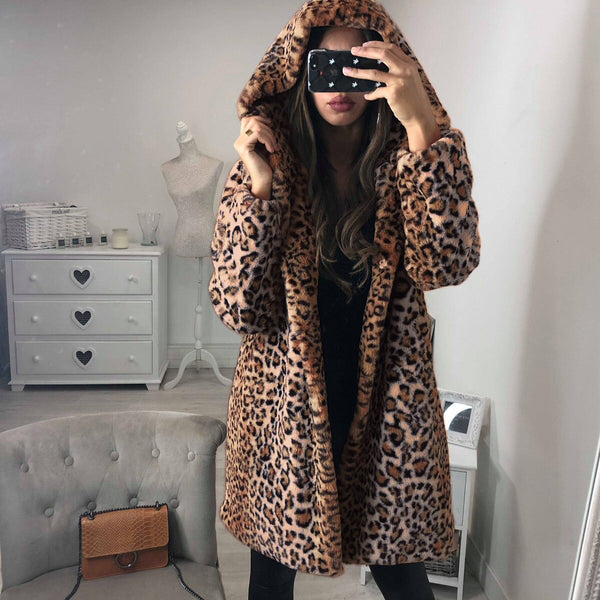 Sexy Fashion Leopard Print Faux Fur Coats Women Winter Warm Coat Women Fur Jackets Plus Size Overcoats Femme Casual Streetwear
