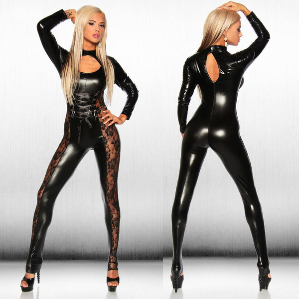 Sexy Lingerie Hot Erotic Teddy Underwear Woman Adult Supplies Latex Catsuit  Patent Leather Deep Open Patent Leather Skinny